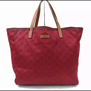 GUCCI Red GG Link Signature Canvas Bag TanLeather